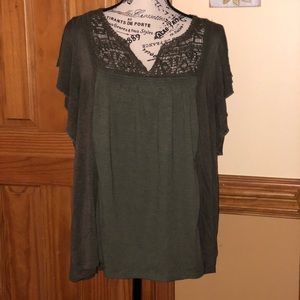 Knox Rose Olive Green High Low Lace Top XL